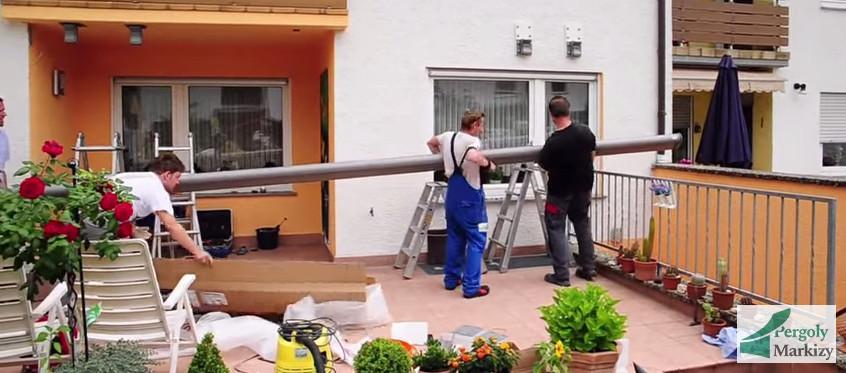 Установка маркизы к потолку и на стену